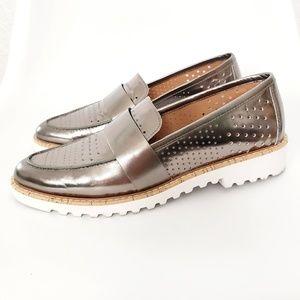 Halogen Silver Metallic Leather Platform Loafers